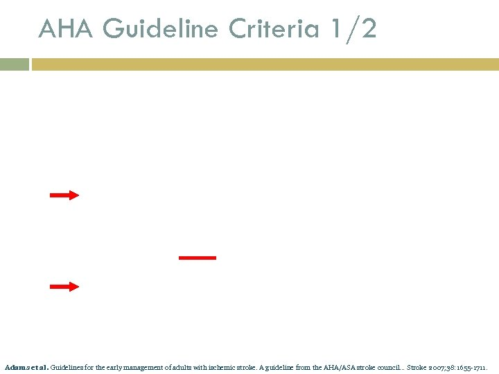 AHA Guideline Criteria 1/2 Adams et al. Guidelines for the early management of adults