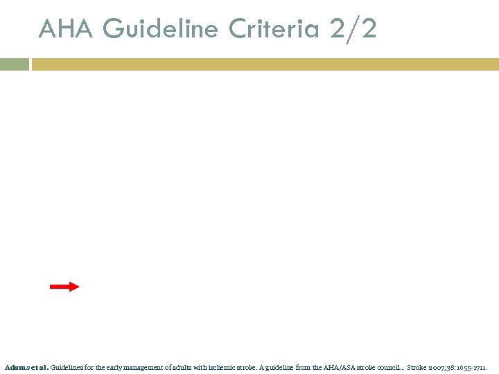 AHA Guideline Criteria 2/2 Adams et al. Guidelines for the early management of adults