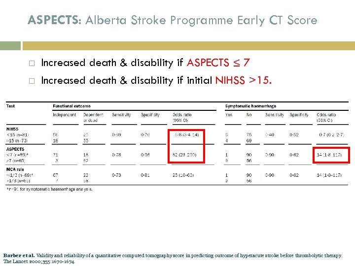 ASPECTS: Alberta Stroke Programme Early CT Score Increased death & disability if ASPECTS ≤