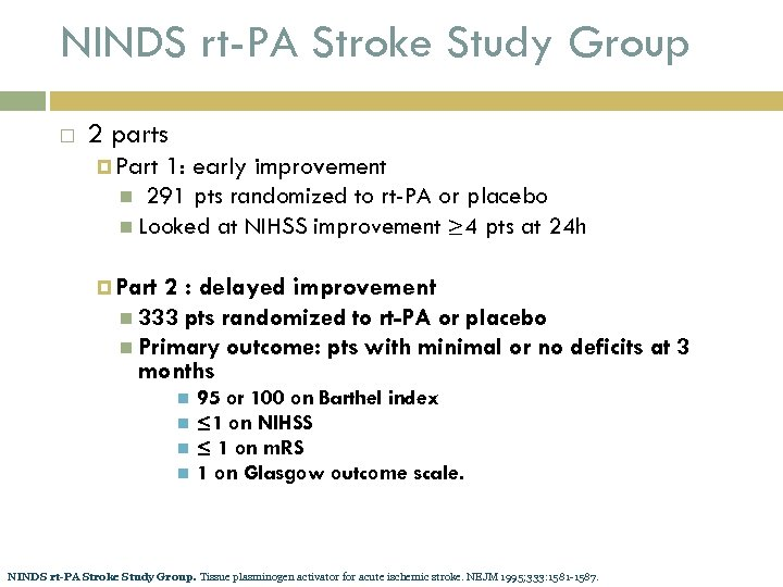 NINDS rt-PA Stroke Study Group 2 parts Part 1: early improvement 291 pts randomized