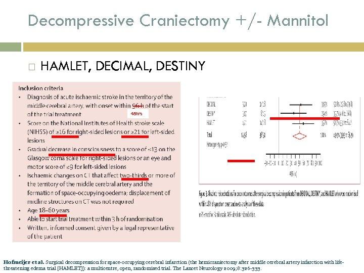 Decompressive Craniectomy +/- Mannitol HAMLET, DECIMAL, DESTINY 48 hrs Hofmeijer et al. Surgical decompression