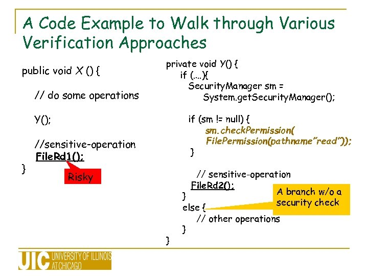 A Code Example to Walk through Various Verification Approaches public void X () {