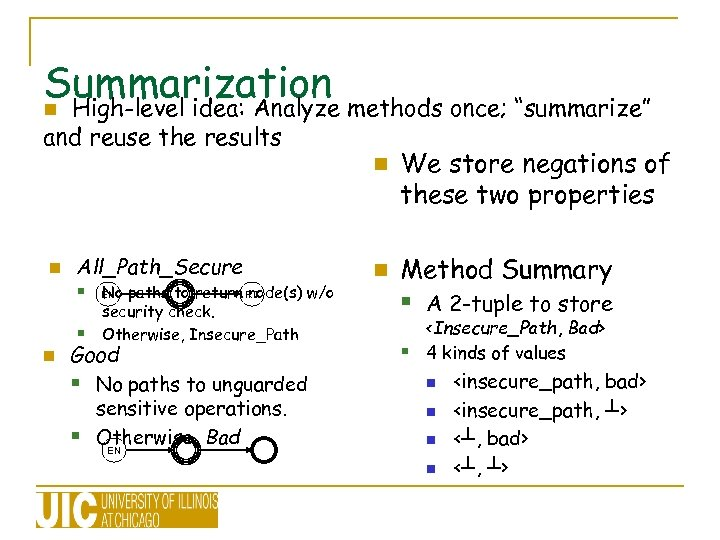 """Summarization methods once; """"summarize"""" n High-level idea: Analyze and reuse the results n n"""