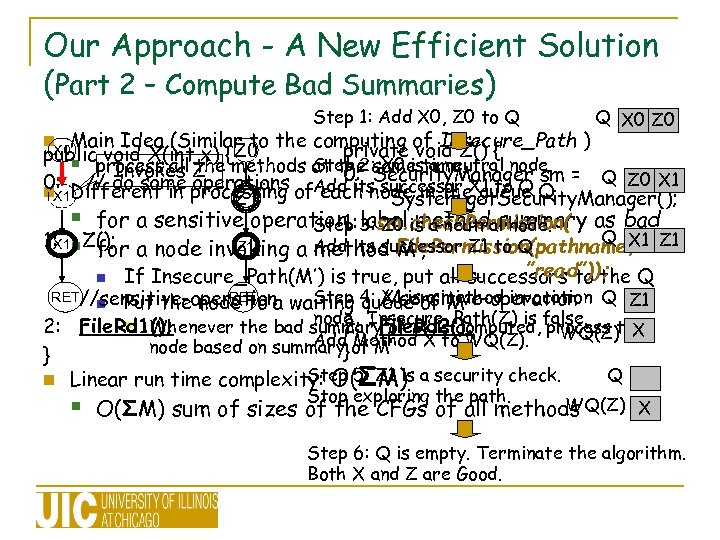Our Approach - A New Efficient Solution (Part 2 – Compute Bad Summaries) Step