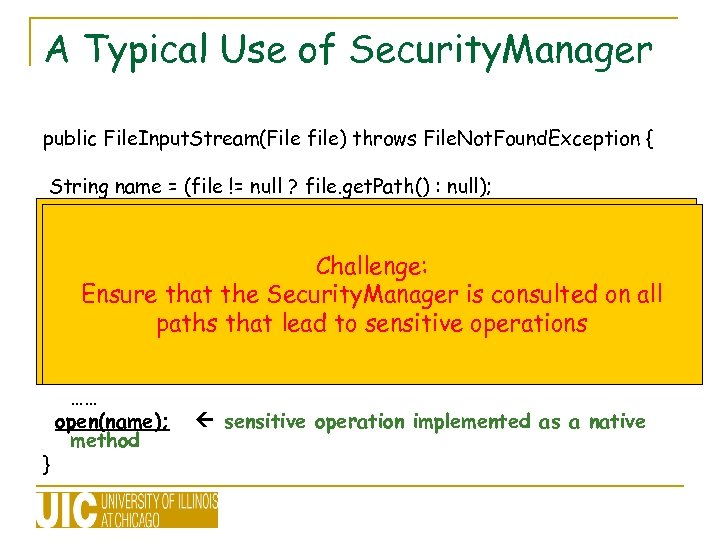 A Typical Use of Security. Manager public File. Input. Stream(File file) throws File. Not.