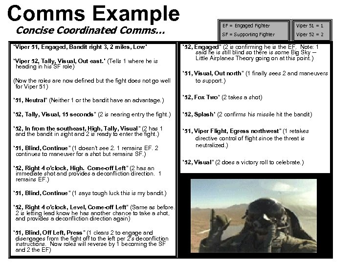 """Comms Example Concise Coordinated Comms… """"Viper 51, Engaged, Bandit right 3, 2 miles, Low"""""""