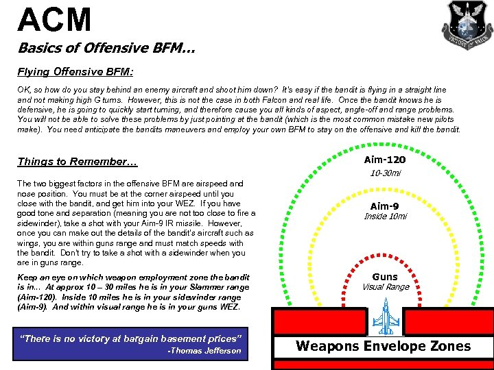 ACM Basics of Offensive BFM… Flying Offensive BFM: OK, so how do you stay