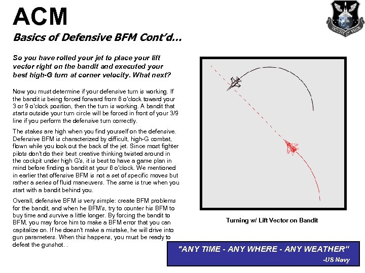 ACM Basics of Defensive BFM Cont'd… So you have rolled your jet to place