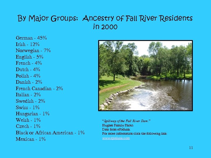 By Major Groups: Ancestry of Fall River Residents in 2000 German - 45% Irish