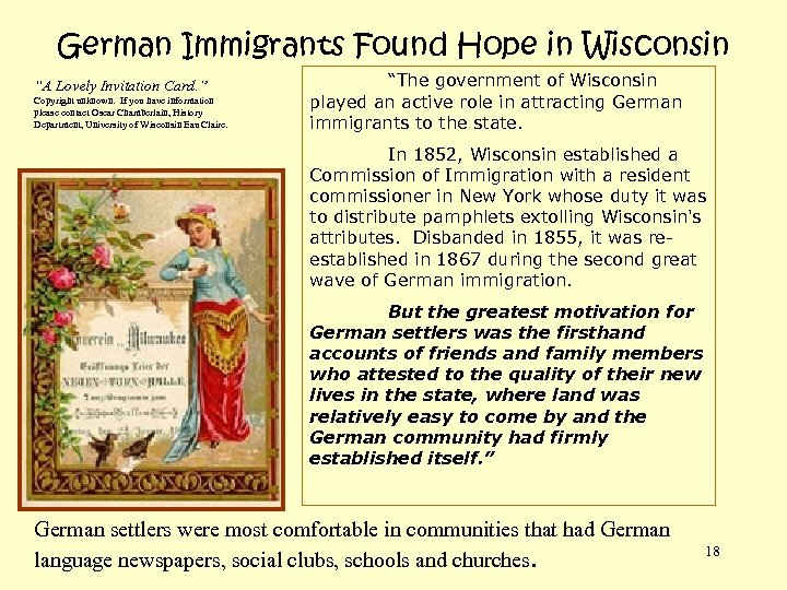 "German Immigrants Found Hope in Wisconsin ""A Lovely Invitation Card. "" Copyright unknown. If"