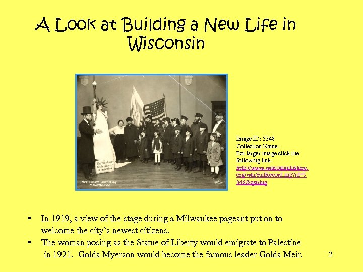 A Look at Building a New Life in Wisconsin Image ID: 5348 Collection Name: