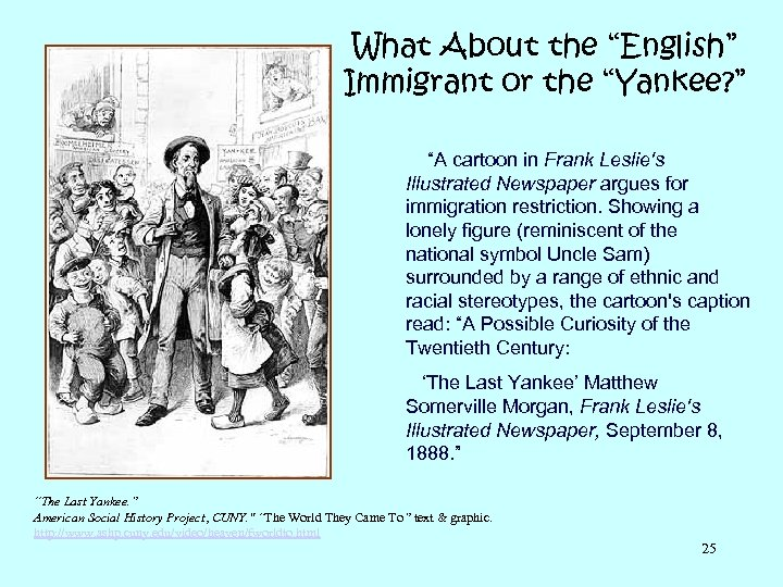"What About the ""English"" Immigrant or the ""Yankee? "" ""A cartoon in Frank Leslie's"
