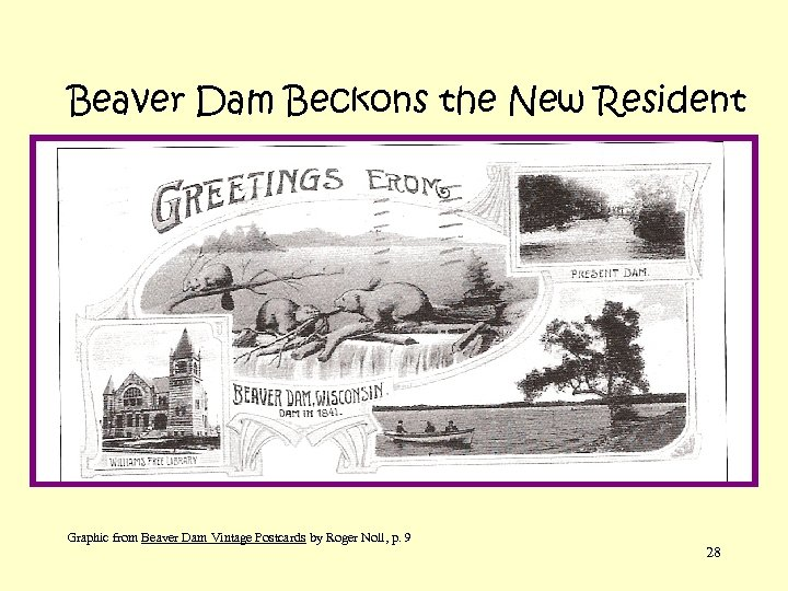 Beaver Dam Beckons the New Resident Graphic from Beaver Dam Vintage Postcards by Roger