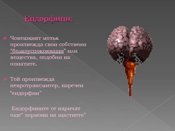 """Ендорфини: v Човешкият мозък произвежда свои собствени """"болкоуспокояващи"""" или вещества, подобни на опиатите. v"""