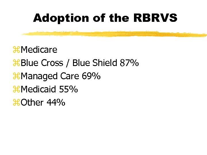Adoption of the RBRVS z. Medicare z. Blue Cross / Blue Shield 87% z.