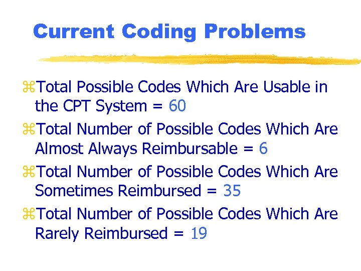 Current Coding Problems z. Total Possible Codes Which Are Usable in the CPT System