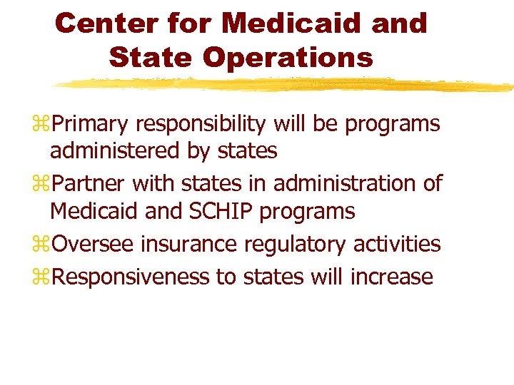 Center for Medicaid and State Operations z. Primary responsibility will be programs administered by