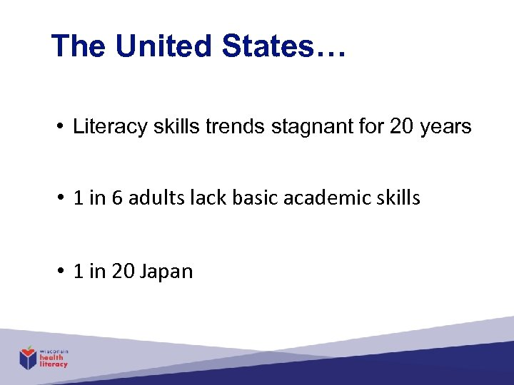 The United States… • Literacy skills trends stagnant for 20 years • 1 in