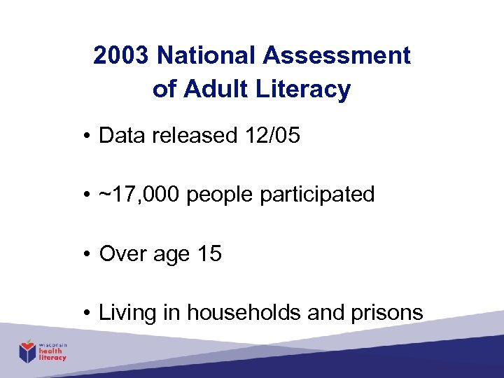 2003 National Assessment of Adult Literacy • Data released 12/05 • ~17, 000 people
