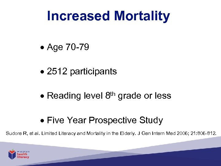 Increased Mortality Age 70 -79 2512 participants Reading level 8 th grade or less