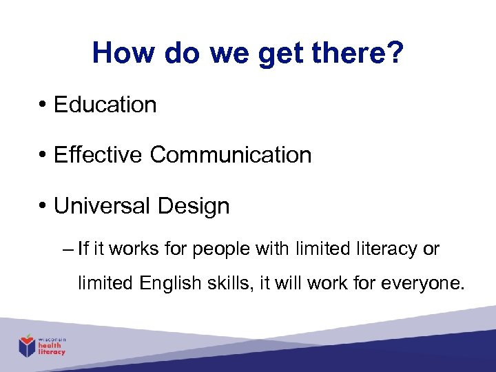 How do we get there? • Education • Effective Communication • Universal Design –