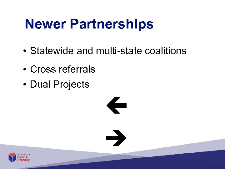 Newer Partnerships • Statewide and multi-state coalitions • Cross referrals • Dual Projects