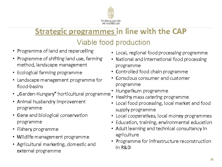 Strategic programmes in line with the CAP Viable food production • Programme of land