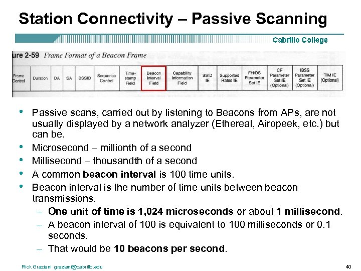 Station Connectivity – Passive Scanning • • • Passive scans, carried out by listening