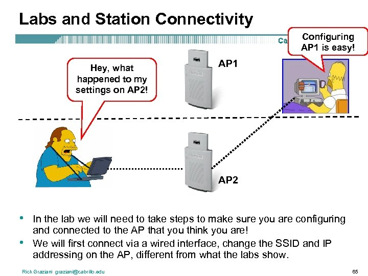 Labs and Station Connectivity Configuring AP 1 is easy! Hey, what happened to my