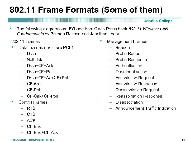 802. 11 Frame Formats (Some of them) • The following diagrams are FYI and