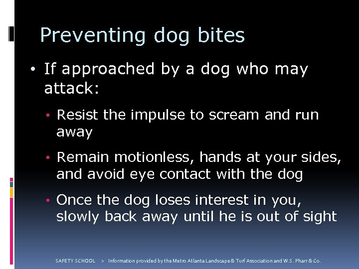 Preventing dog bites • If approached by a dog who may attack: • Resist
