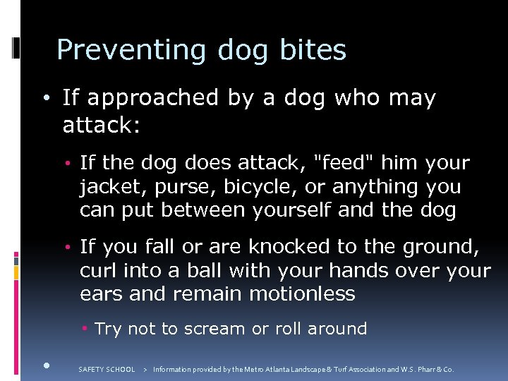 Preventing dog bites • If approached by a dog who may attack: • If