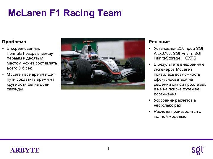 Mc. Laren F 1 Racing Team Проблема Решение • В соревнованиях Formula 1 разрыв