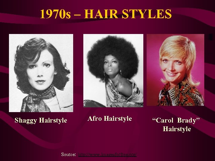 1970 s – HAIR STYLES Shaggy Hairstyle Afro Hairstyle Source: http: //www. imagesforfree. org/