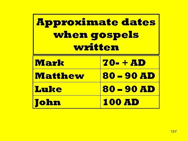 Approximate dates when gospels written Mark Matthew Luke John 70 - + AD 80