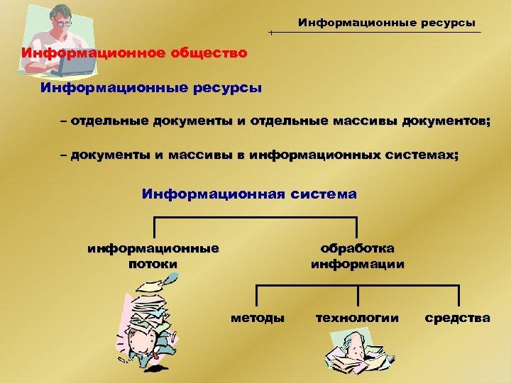 Информационные ресурсы Информационное общество Информационные ресурсы – отдельные документы и отдельные массивы документов; –