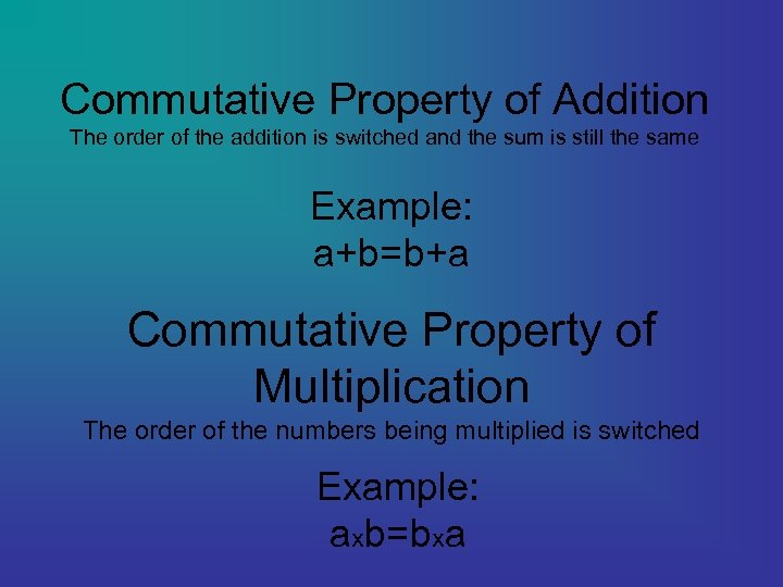 Commutative Property of Addition The order of the addition is switched and the sum