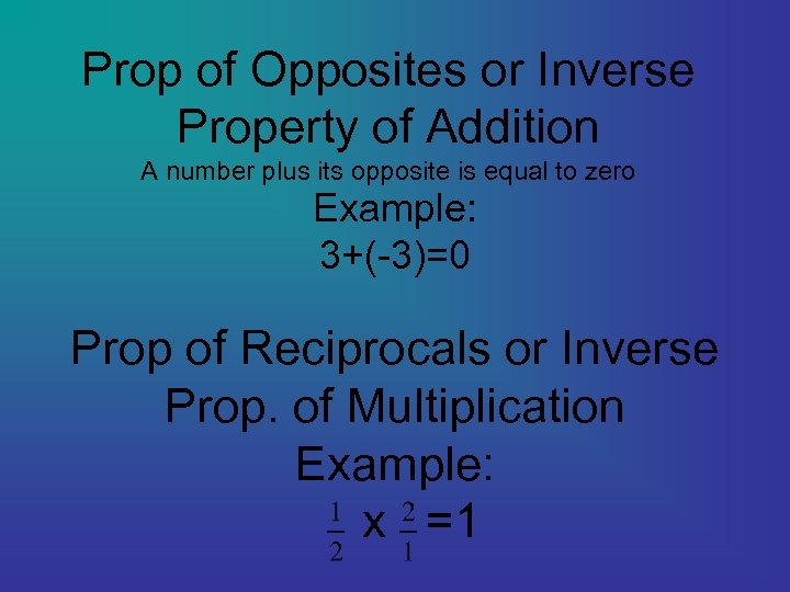 Prop of Opposites or Inverse Property of Addition A number plus its opposite is