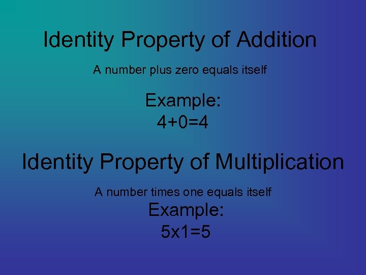 Identity Property of Addition A number plus zero equals itself Example: 4+0=4 Identity Property