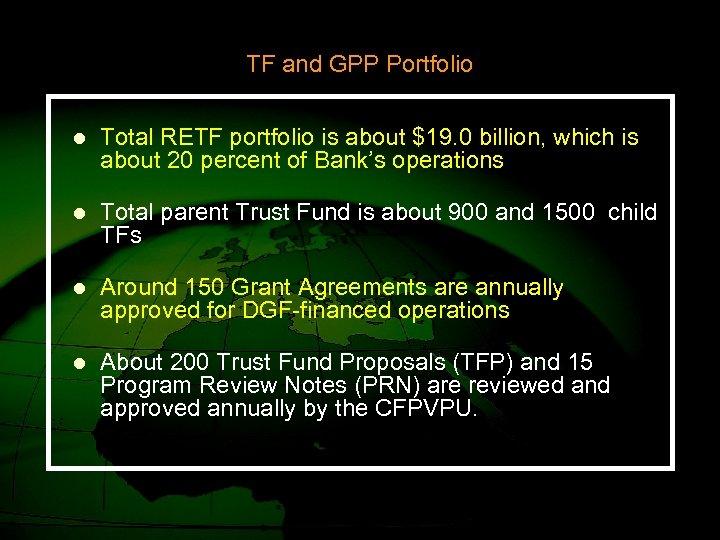 TF and GPP Portfolio l Total RETF portfolio is about $19. 0 billion, which