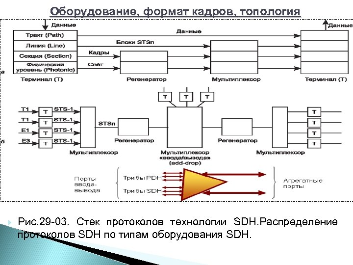 Оборудование, формат кадров, топология Рис. 29 03. Стек протоколов технологии SDH. Распределение протоколов SDH