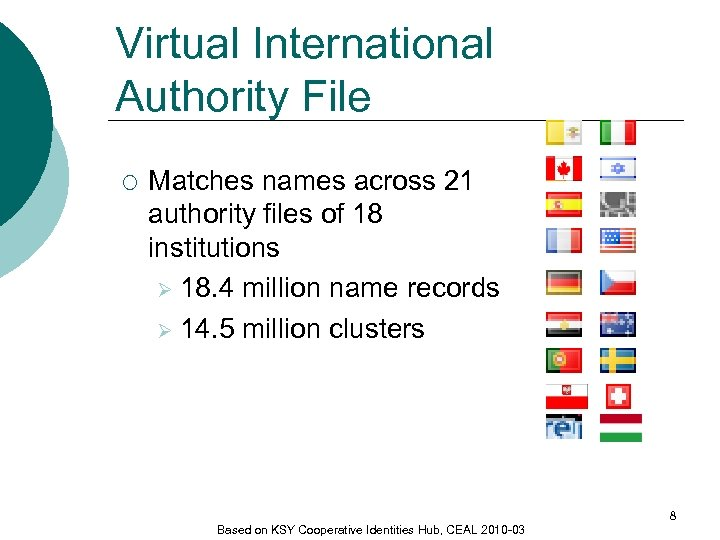 Virtual International Authority File ¡ Matches names across 21 authority files of 18 institutions