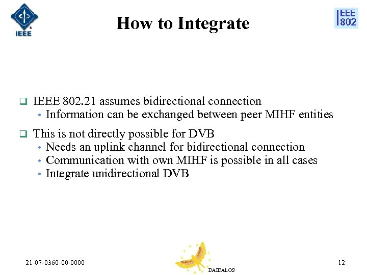 How to Integrate q IEEE 802. 21 assumes bidirectional connection • Information can be