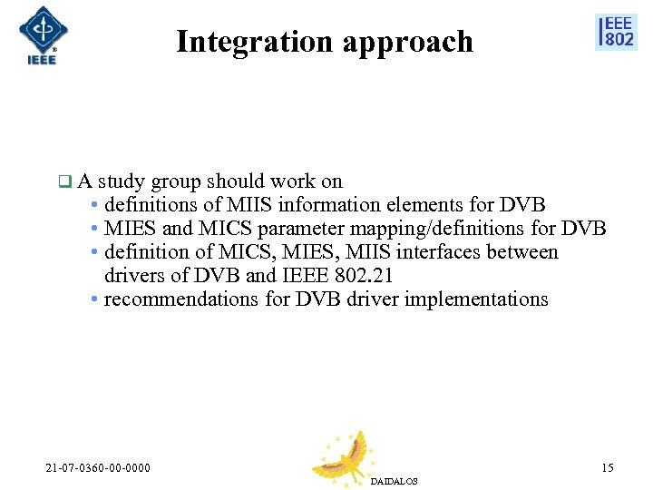 Integration approach q A study group should work on • definitions of MIIS information