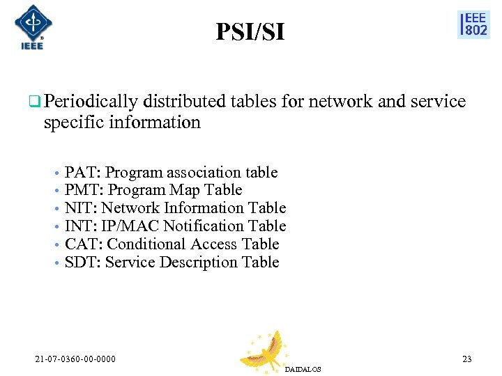 PSI/SI q Periodically distributed tables for network and service specific information • • •