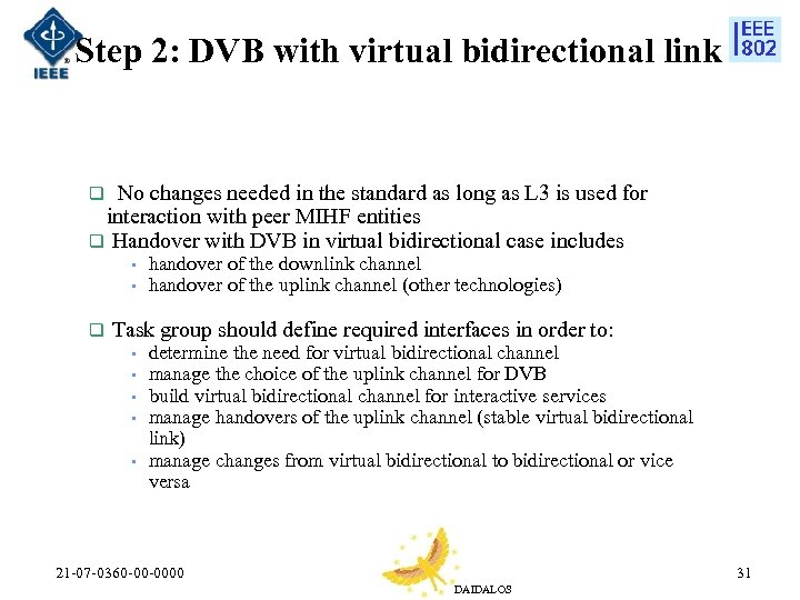 Step 2: DVB with virtual bidirectional link q No changes needed in the standard