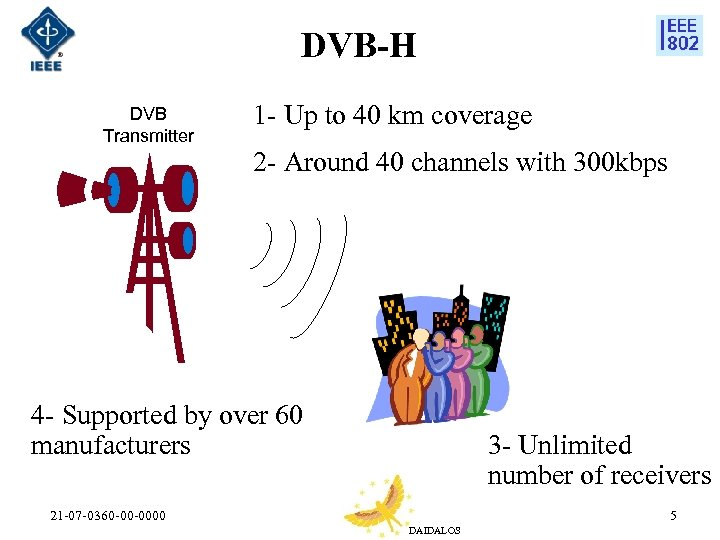DVB-H DVB Transmitter 1 - Up to 40 km coverage 2 - Around 40