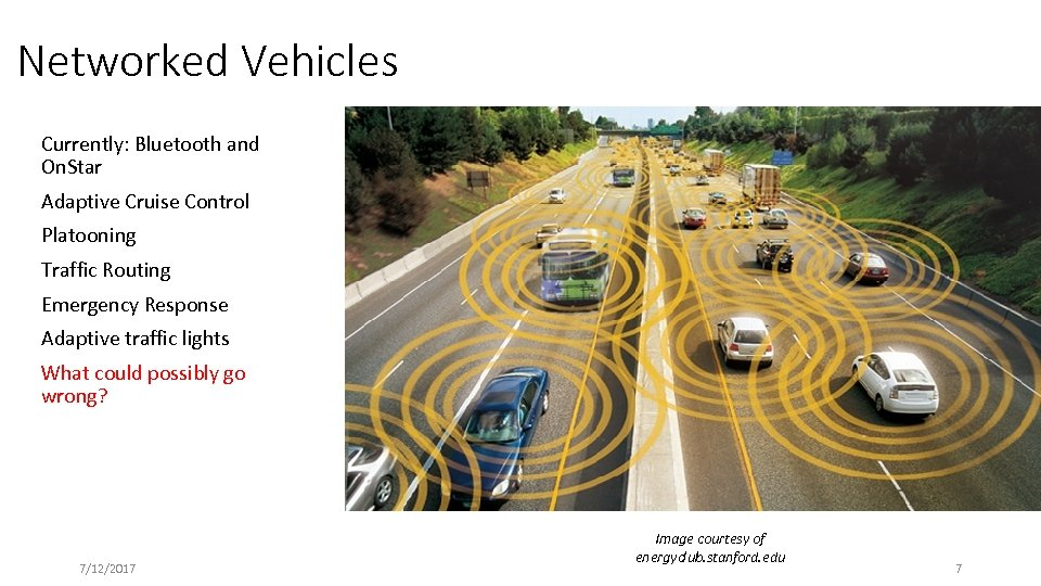 Networked Vehicles Currently: Bluetooth and On. Star Adaptive Cruise Control Platooning Traffic Routing Emergency