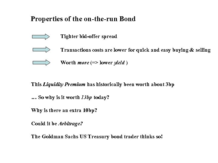 Properties of the on-the-run Bond Tighter bid-offer spread Transactions costs are lower for quick