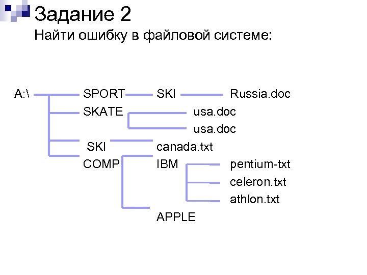 Задание 2 Найти ошибку в файловой системе: A:  SPORT SKATE SKI COMP SKI